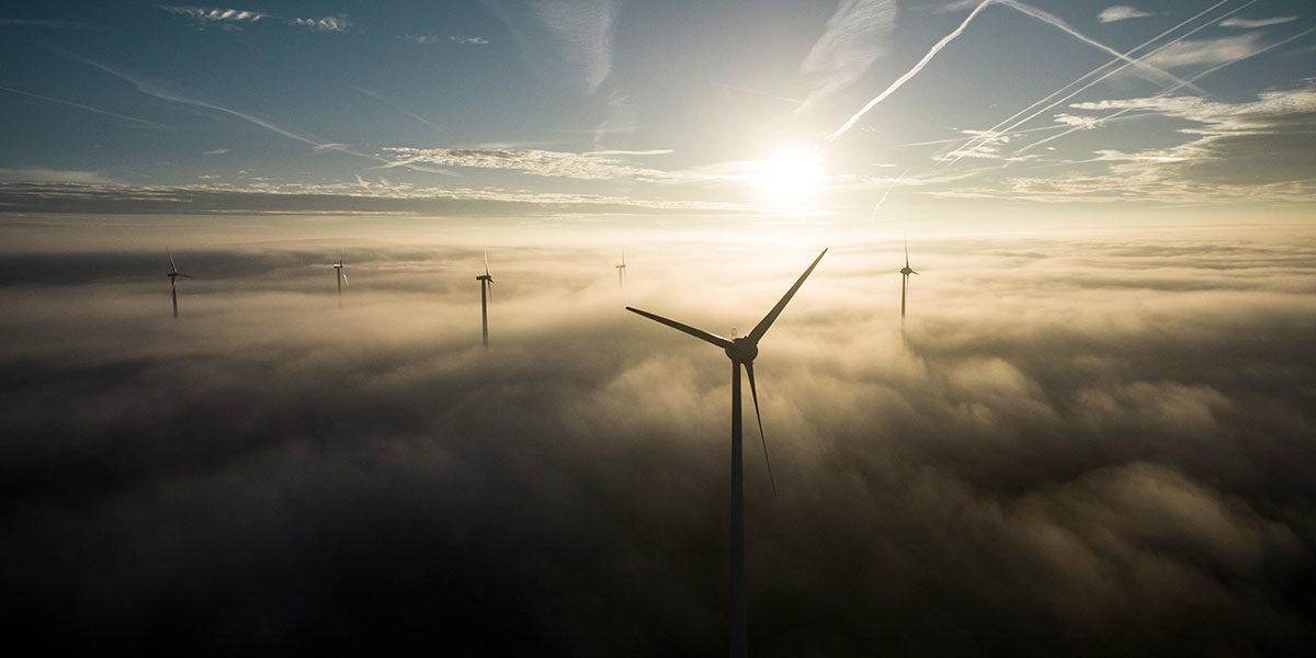 Windräder in der Abendsonne (Foto: Joseph Schulze, iStock)